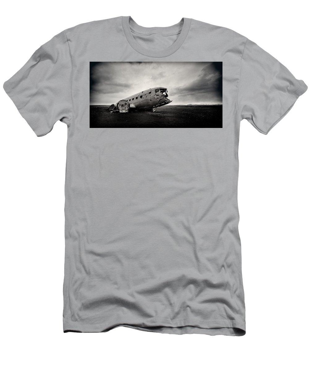 Solheimsandur Men's T-Shirt (Athletic Fit) featuring the photograph The Solheimsandur Plane Wreck by Tor-Ivar Naess
