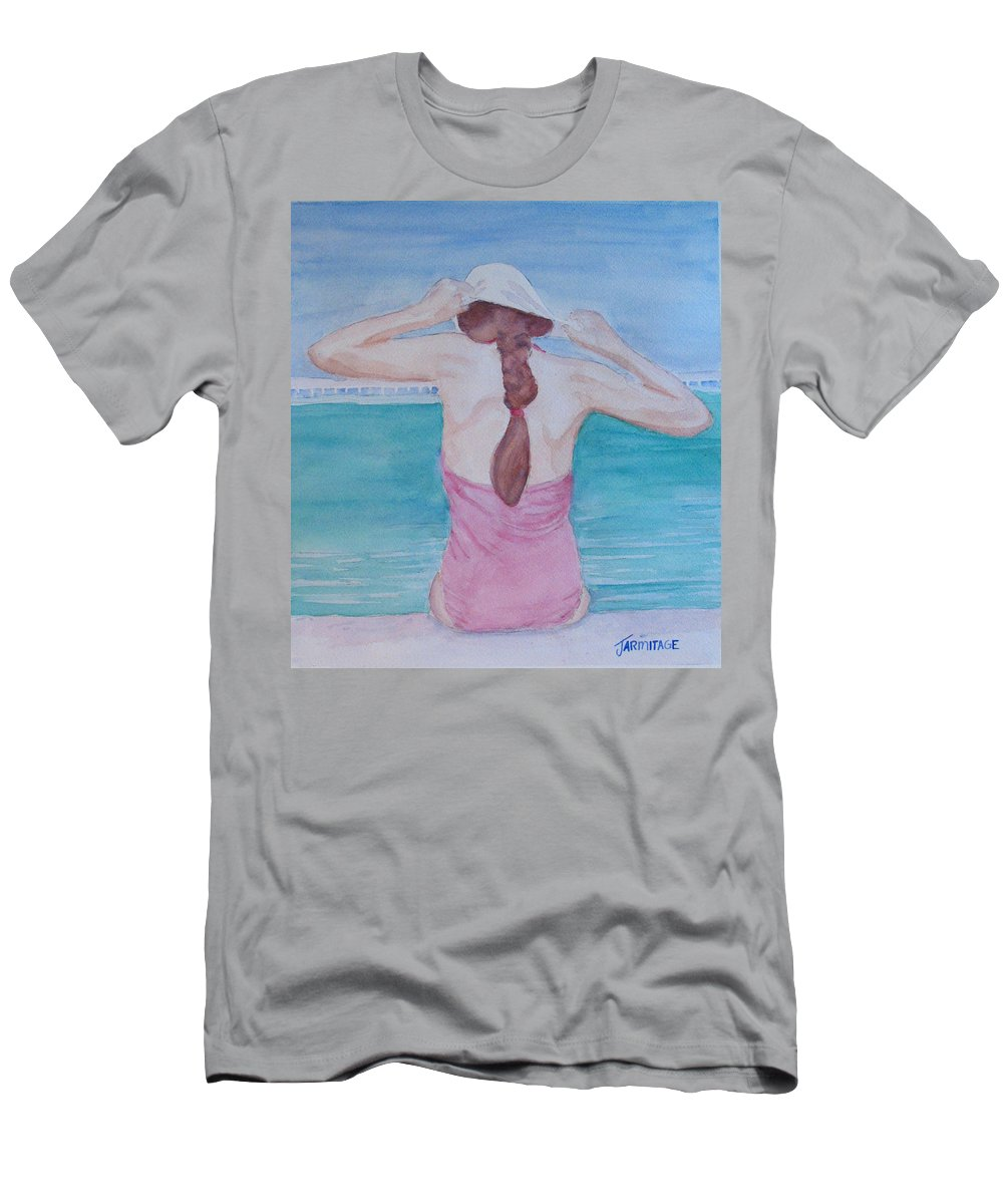 Girl Men's T-Shirt (Athletic Fit) featuring the painting The Swim Cap by Jenny Armitage