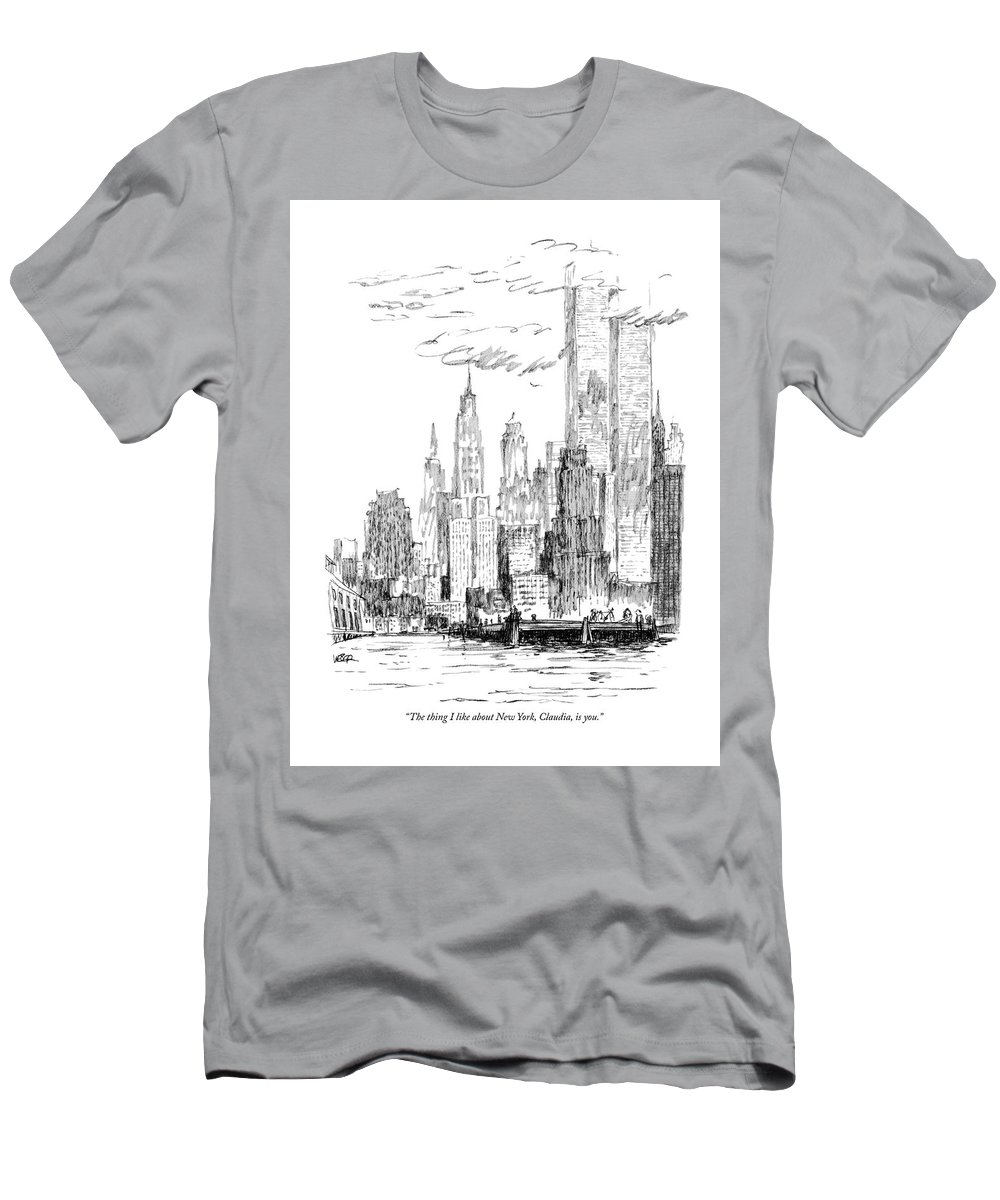 Nyc T-Shirt featuring the drawing The Thing I Like About New York by Robert Weber