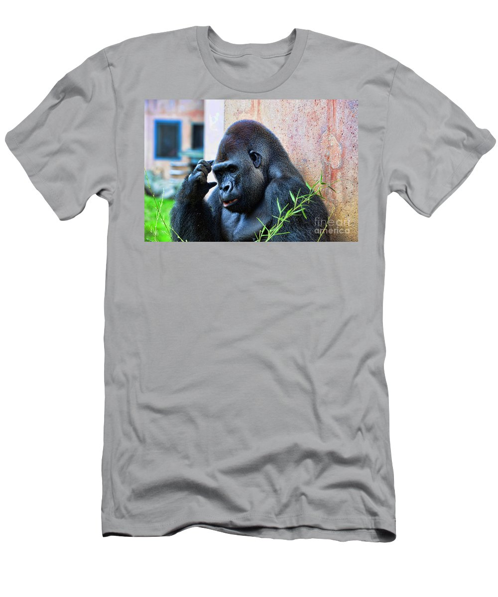 Gorilla Men's T-Shirt (Athletic Fit) featuring the photograph The Thinking Gorilla by Paul Ward