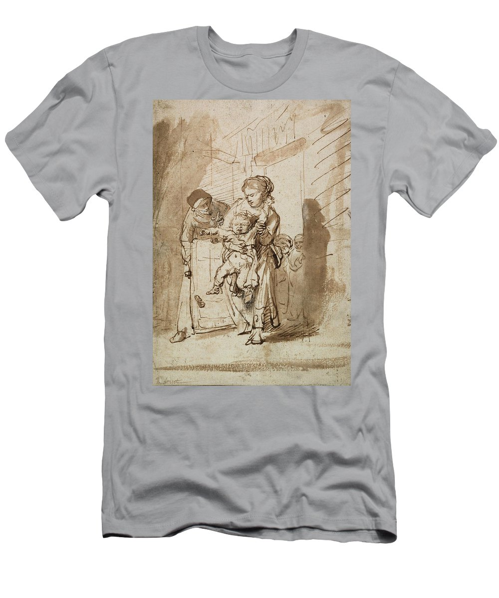 Rembrandt Men's T-Shirt (Athletic Fit) featuring the drawing The Unruly Child by Rembrandt