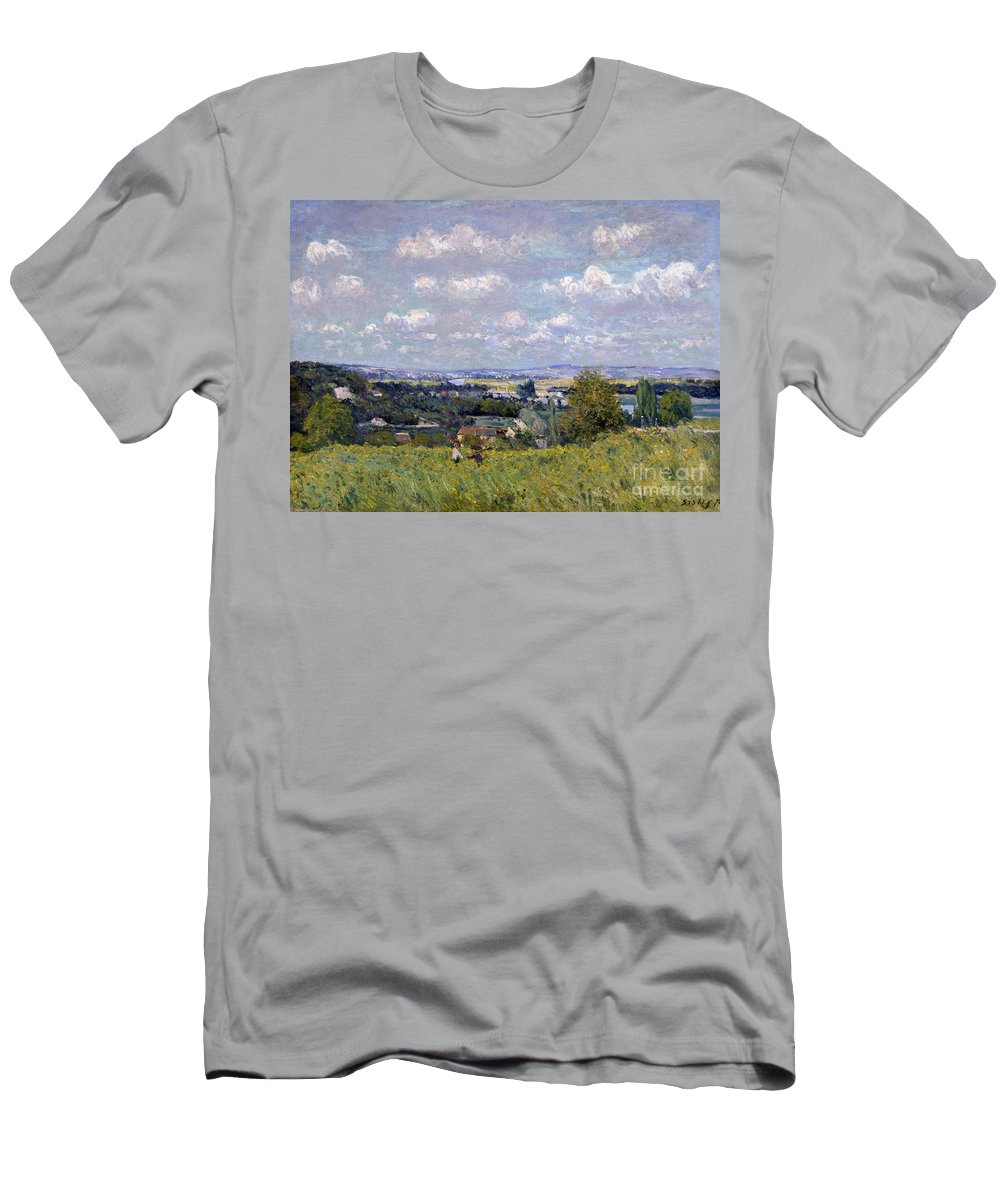 The Valley Of The Seine At Saint-cloud Men's T-Shirt (Athletic Fit) featuring the painting The Valley Of The Seine At Saint Cloud by Alfred Sisley