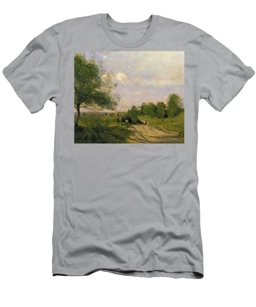 The Wagon Men's T-Shirt (Athletic Fit) featuring the painting The Wagon by Jean Baptiste Camille Corot