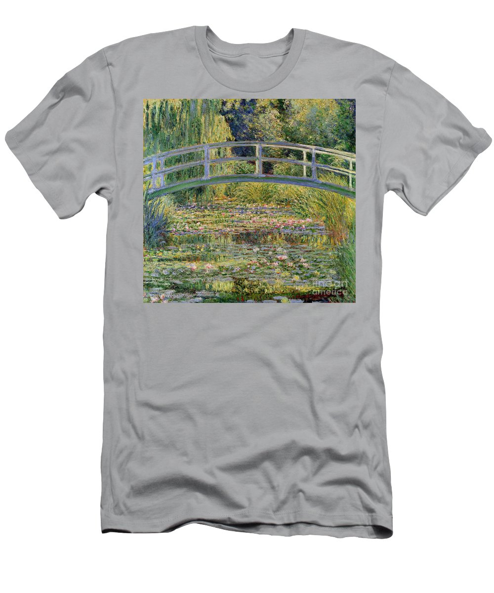 The T-Shirt featuring the painting The Waterlily Pond with the Japanese Bridge by Claude Monet