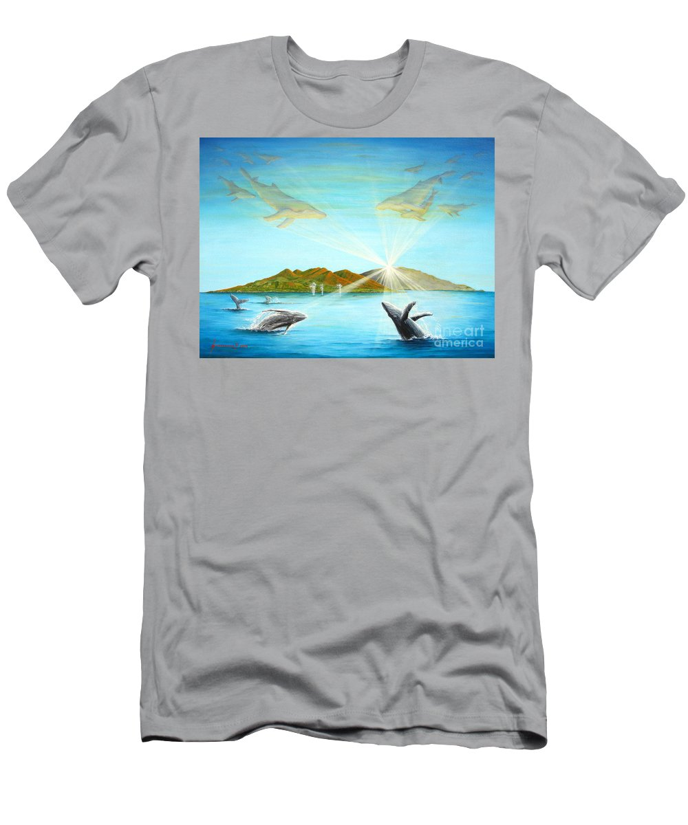 Whales T-Shirt featuring the painting The Whales Of Maui by Jerome Stumphauzer