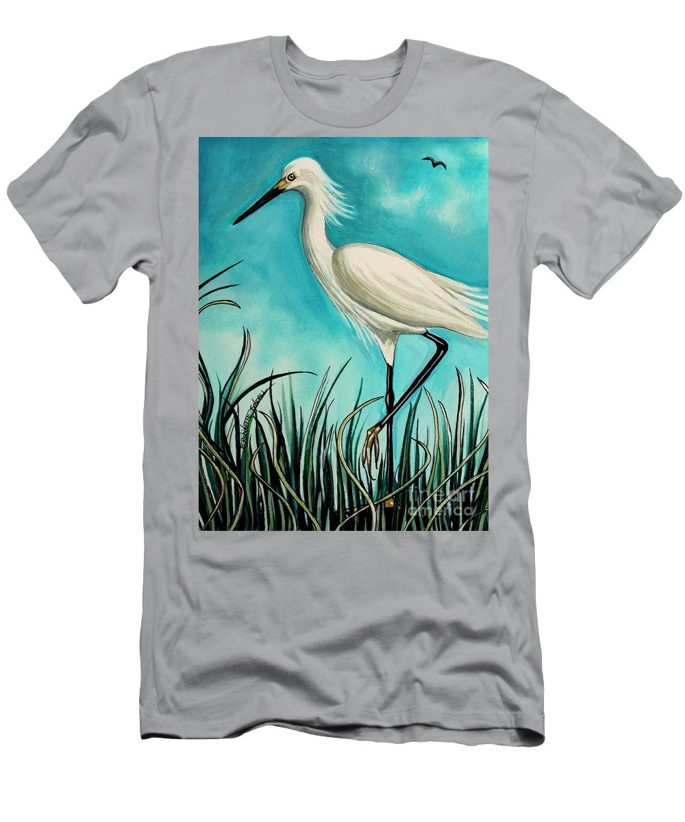 Bird Men's T-Shirt (Athletic Fit) featuring the painting The White Egret by Elizabeth Robinette Tyndall