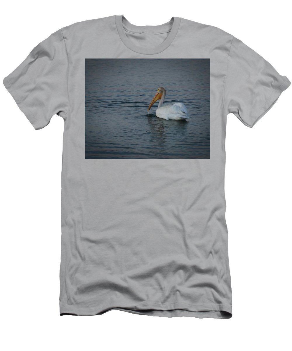 The White Pelican Men's T-Shirt (Athletic Fit) featuring the digital art The White Pelican 1 by Ernie Echols