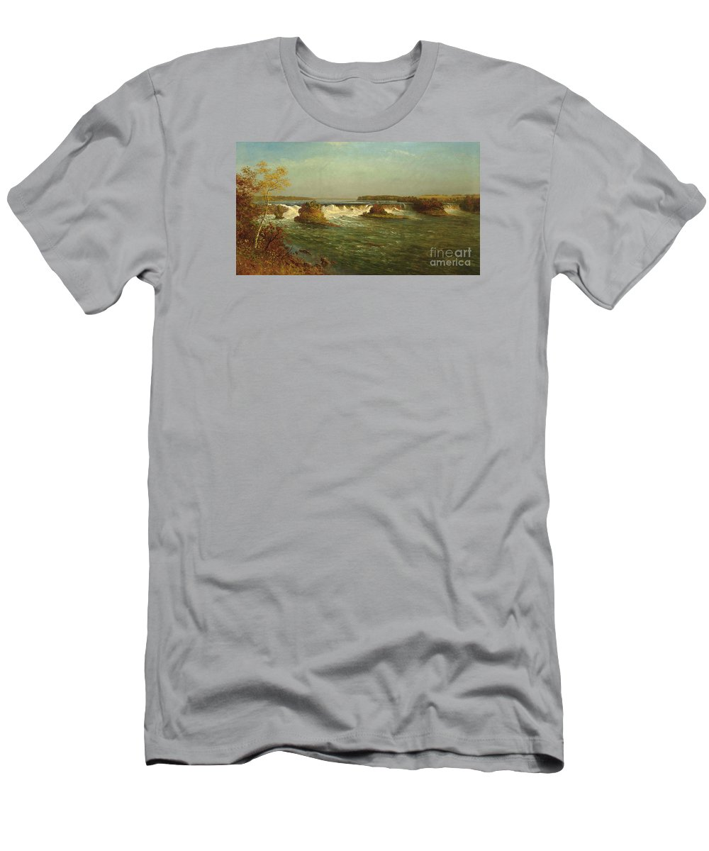 Albert_bierstadt_-_the_falls_of_saint_anthony Men's T-Shirt (Athletic Fit) featuring the painting The_falls_of_saint_anthony by Celestial Images