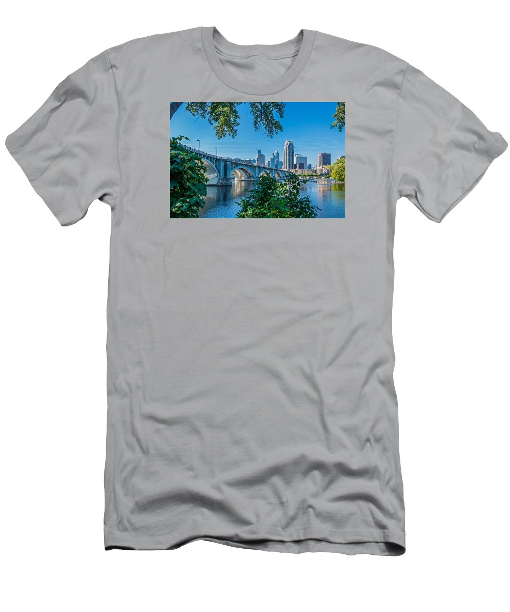 Third Avenue Bridge; Bridge; Mississippi River; St. Anthony Riverplace; Minneapolis T-Shirt featuring the photograph Third Avenue Bridge Over Mississippi River by Lonnie Paulson
