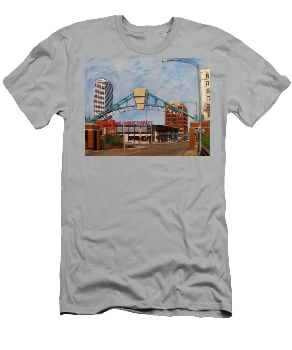 Milwaukee Men's T-Shirt (Athletic Fit) featuring the mixed media Third Ward Arch Over Public Market by Anita Burgermeister