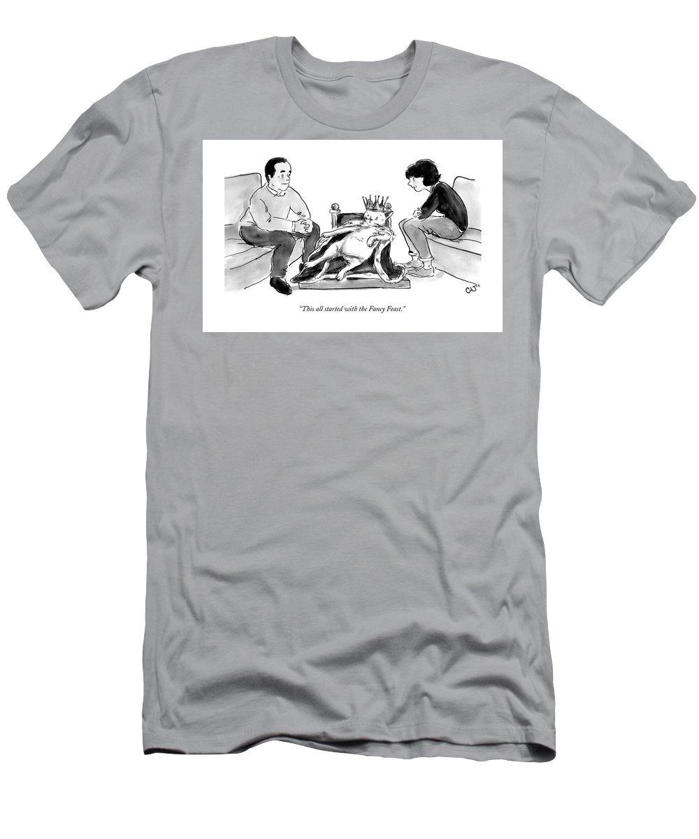 This All Started With The Fancy Feast. T-Shirt featuring the drawing This all started with the Fancy Feast by Carolita Johnson