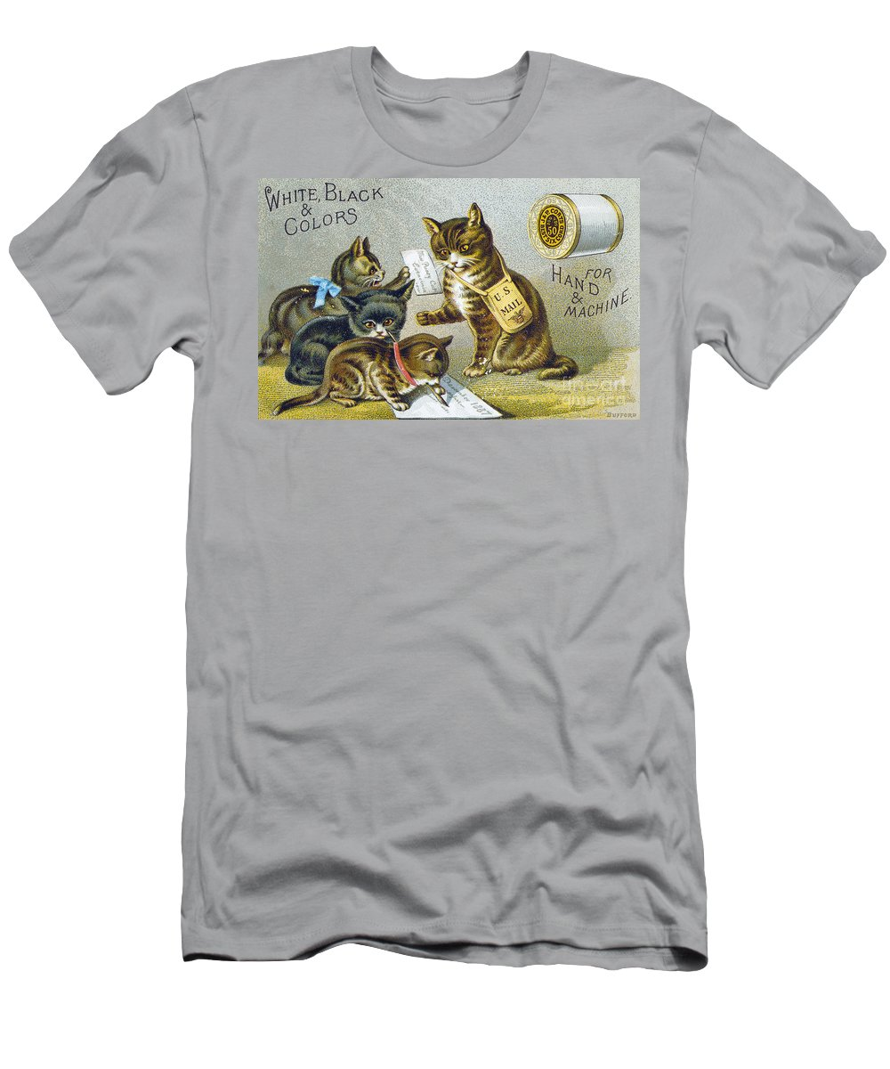 1880s Men's T-Shirt (Athletic Fit) featuring the photograph Thread Trade Card, 1880 by Granger