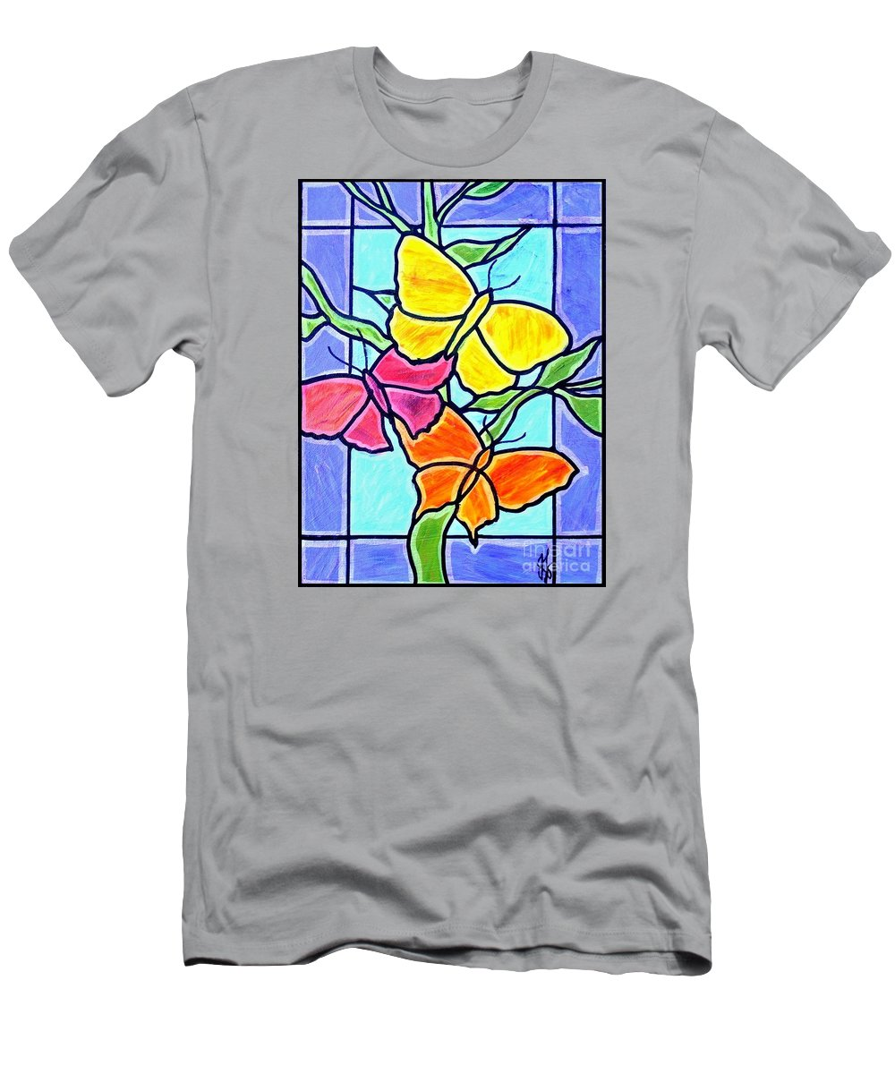 Butterflies T-Shirt featuring the painting Three Butterflies by Jim Harris