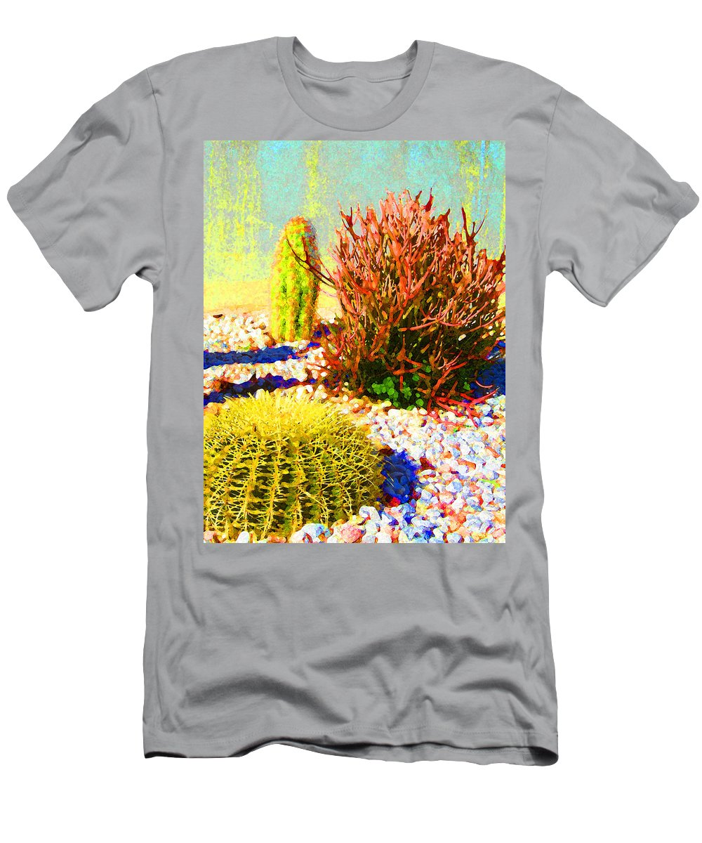 Landscape Men's T-Shirt (Athletic Fit) featuring the painting Three Cacti by Amy Vangsgard