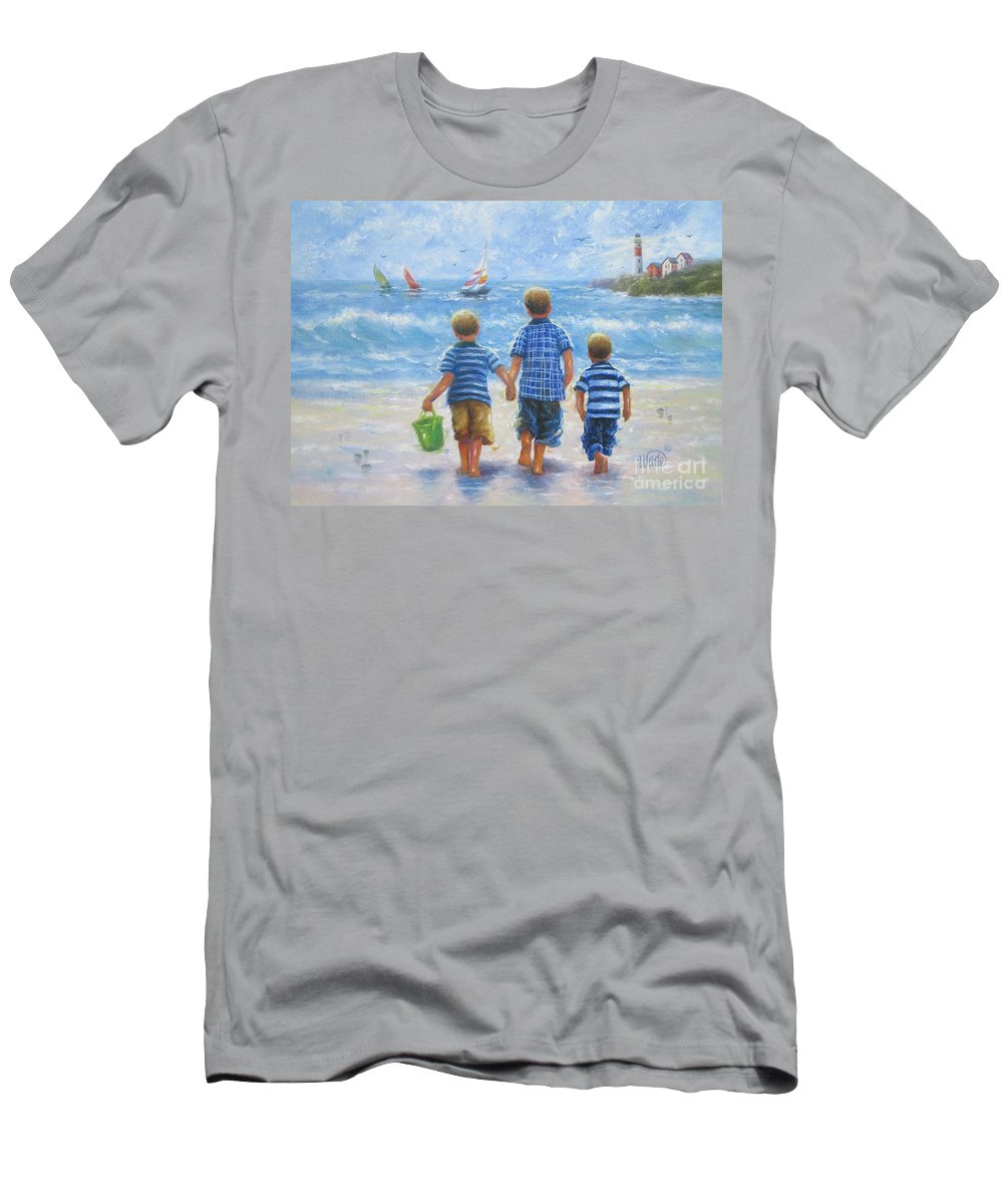 Three Beach Boys Men's T-Shirt (Athletic Fit) featuring the painting Three Little Beach Boys Walking by Vickie Wade