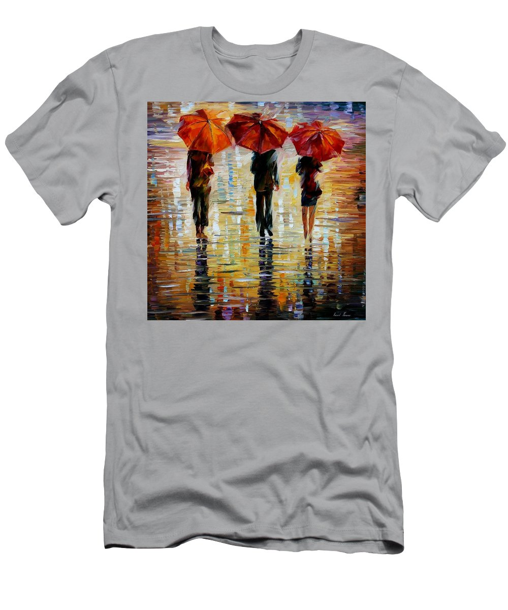 Cityscape Men's T-Shirt (Athletic Fit) featuring the painting Three Red Umbrella by Leonid Afremov