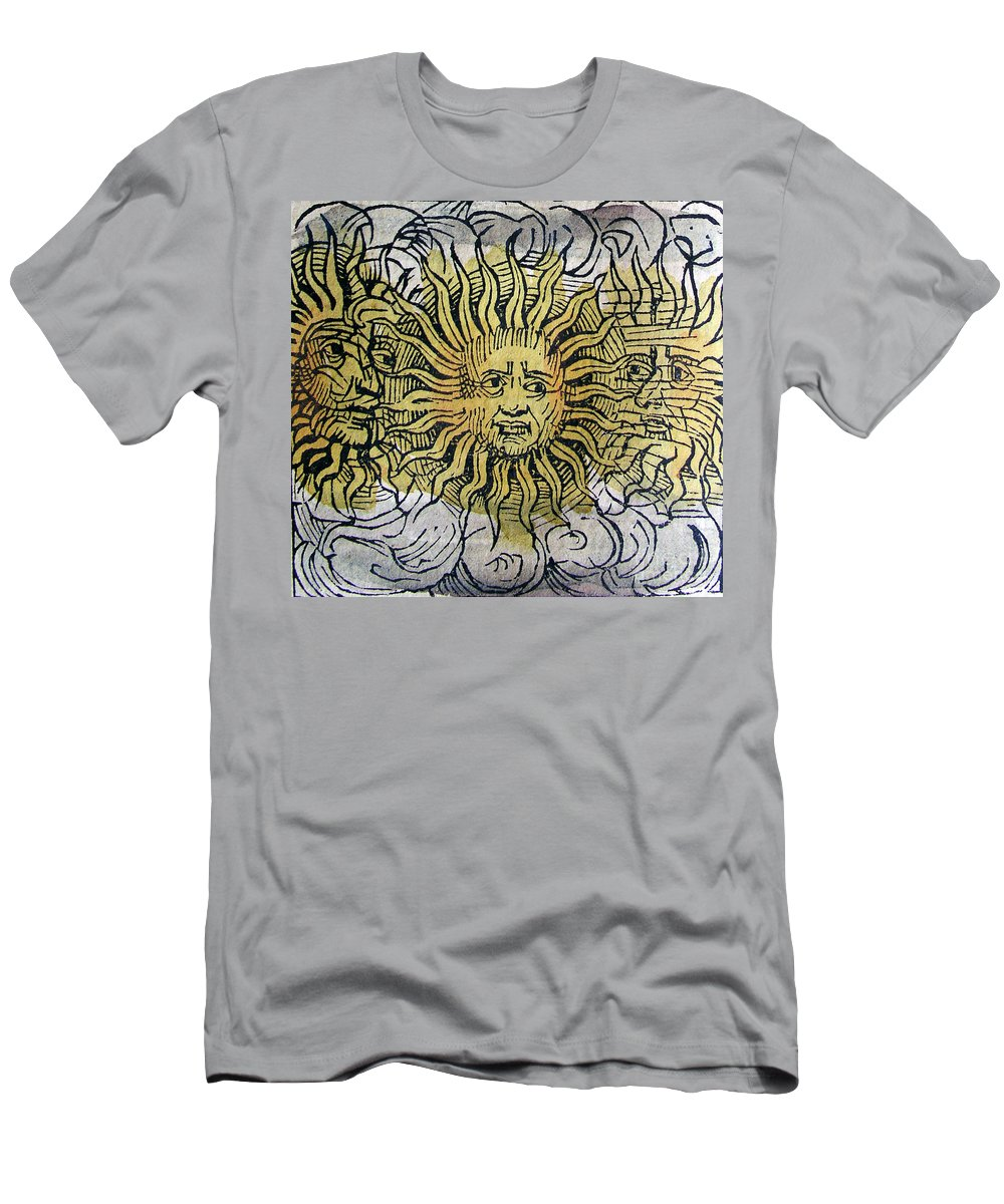 Science Men's T-Shirt (Athletic Fit) featuring the photograph Three Suns, Nuremberg Chronicles, 1493 by Science Source