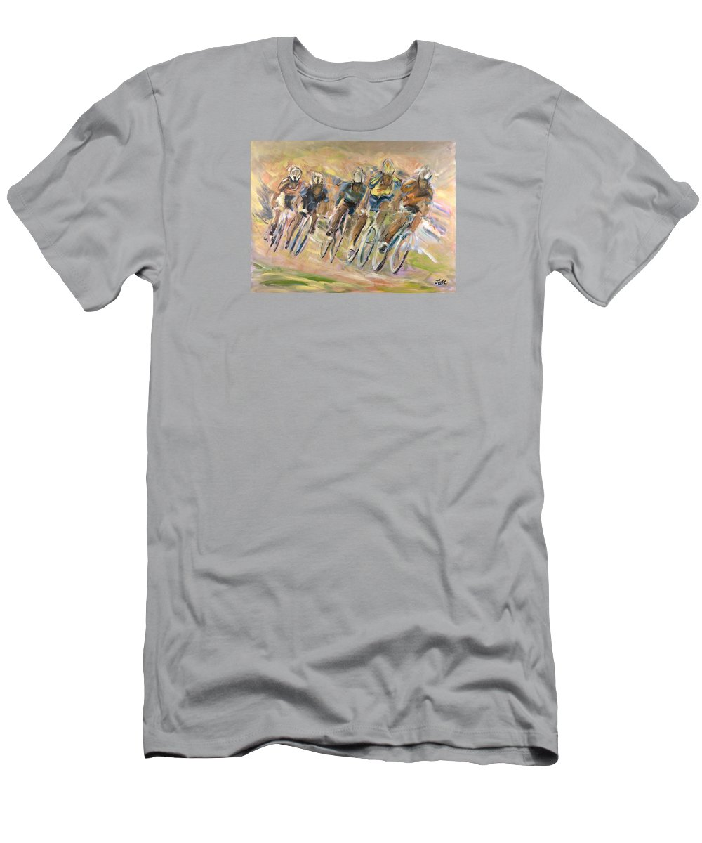 Cyclists Men's T-Shirt (Athletic Fit) featuring the painting Thrill Of The Chase by Jude Lobe