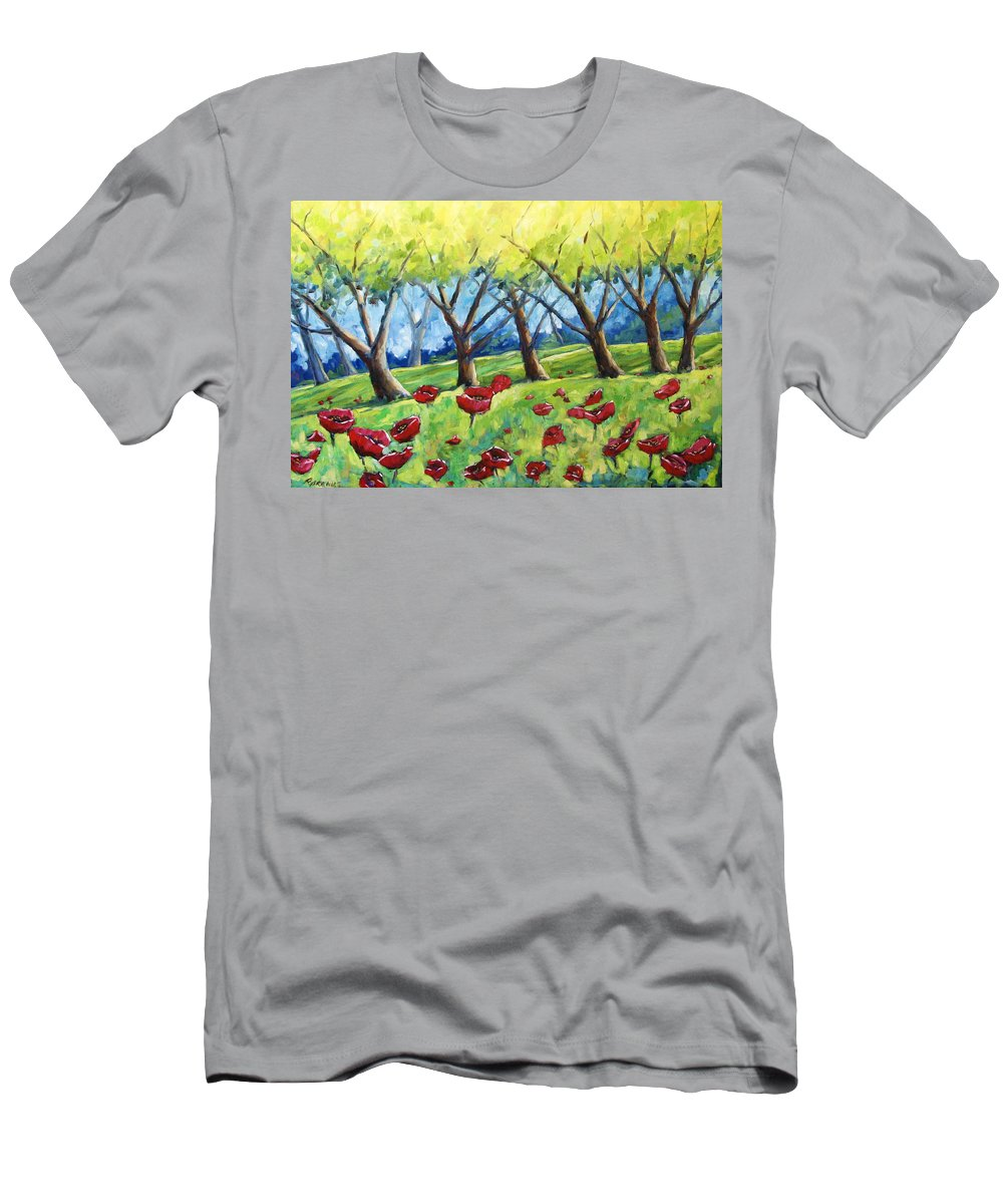 Landscape Men's T-Shirt (Athletic Fit) featuring the painting Through The Meadows by Richard T Pranke