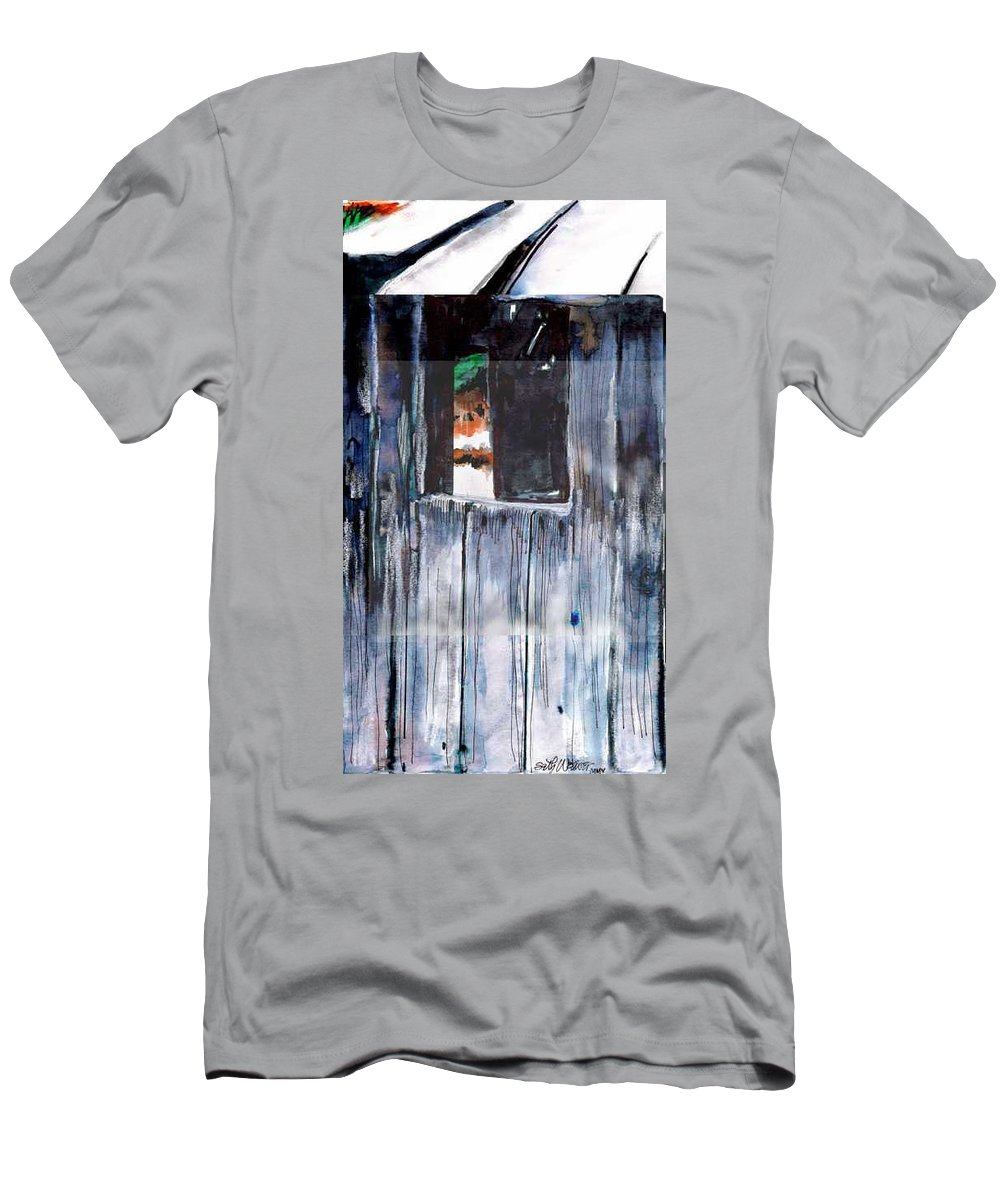 An Old Mysterious Barn With Deep Dark Shadows And Secrets. Rustic And Moody. T-Shirt featuring the drawing Thru the Barn Window by Seth Weaver
