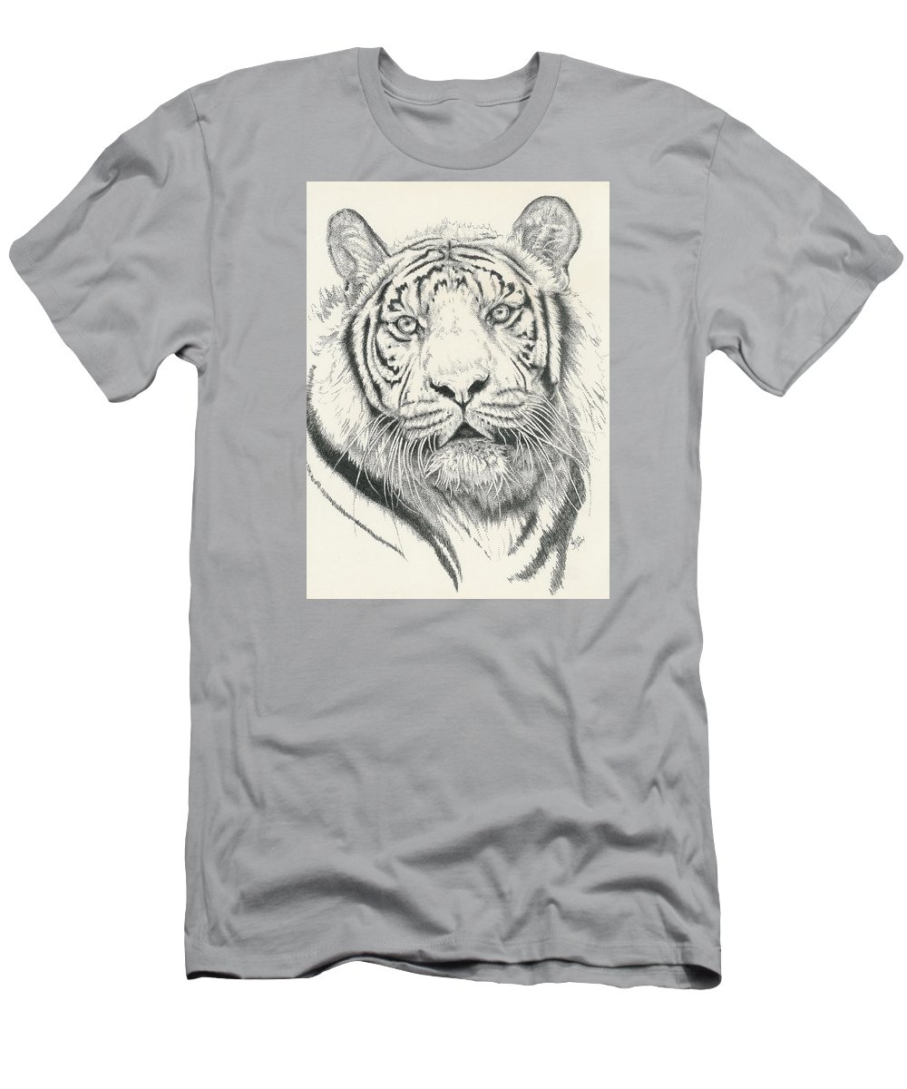 Tiger Men's T-Shirt (Athletic Fit) featuring the drawing Tigerlily by Barbara Keith