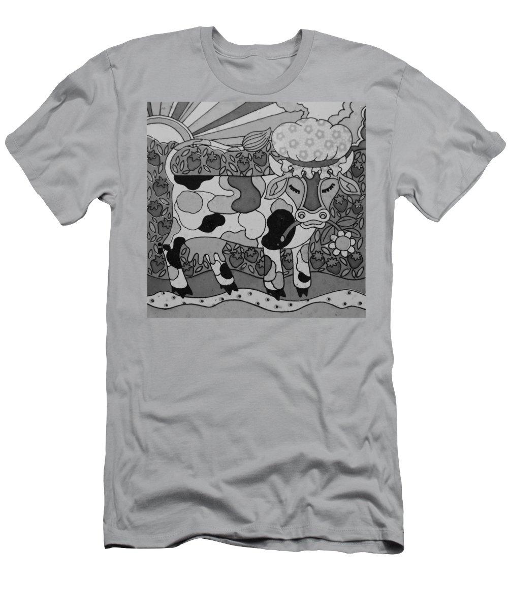 Pop Art Men's T-Shirt (Athletic Fit) featuring the photograph Tile Cow by Rob Hans
