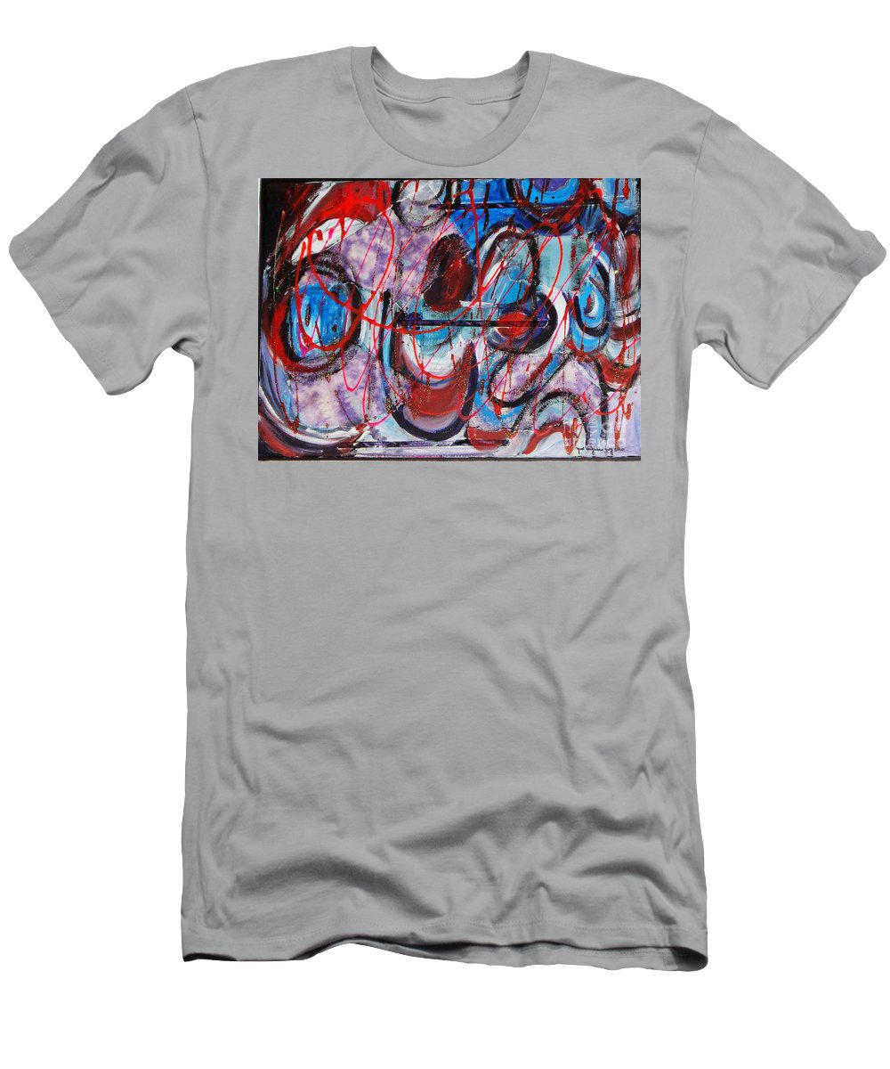 Acrylic Abstract Men's T-Shirt (Athletic Fit) featuring the painting Time Goes By by Yael VanGruber