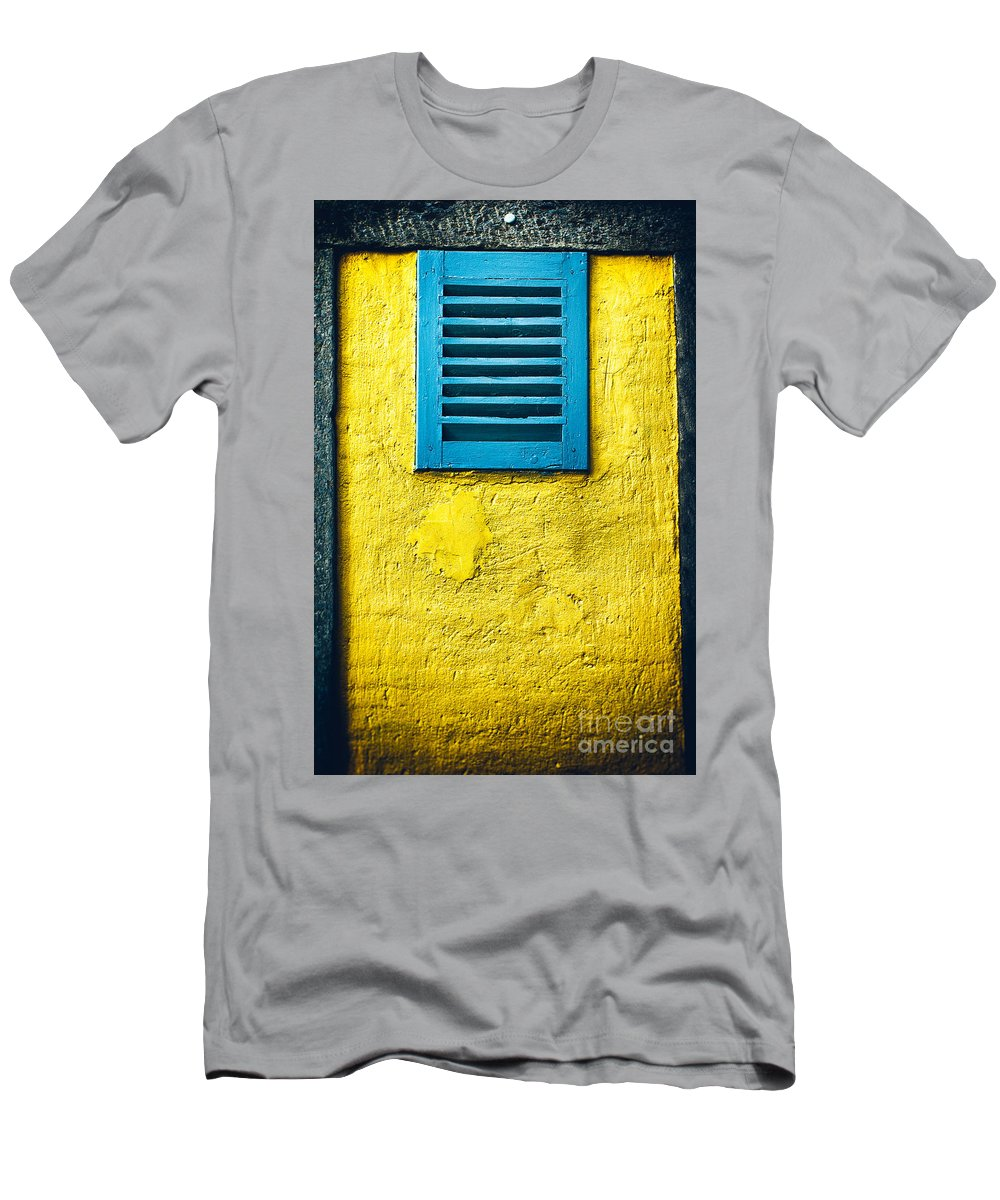 Abstract Men's T-Shirt (Athletic Fit) featuring the photograph Tiny Window With Closed Shutter by Silvia Ganora