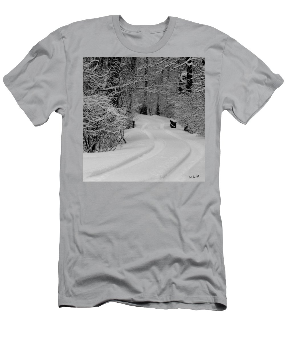 Tire Tracks Men's T-Shirt (Athletic Fit) featuring the photograph Tire Tracks by Ed Smith