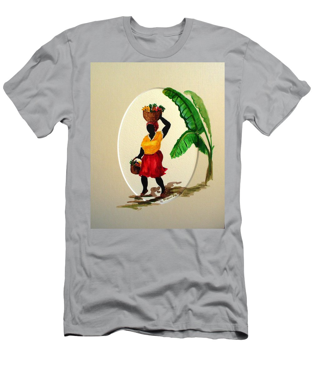 Caribbean Market Womanfruit & Veg Men's T-Shirt (Athletic Fit) featuring the painting To Market by Karin Dawn Kelshall- Best