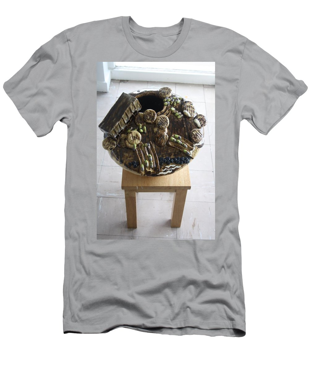 Jesus Men's T-Shirt (Athletic Fit) featuring the sculpture Tobacco Trials View 3 by Gloria Ssali