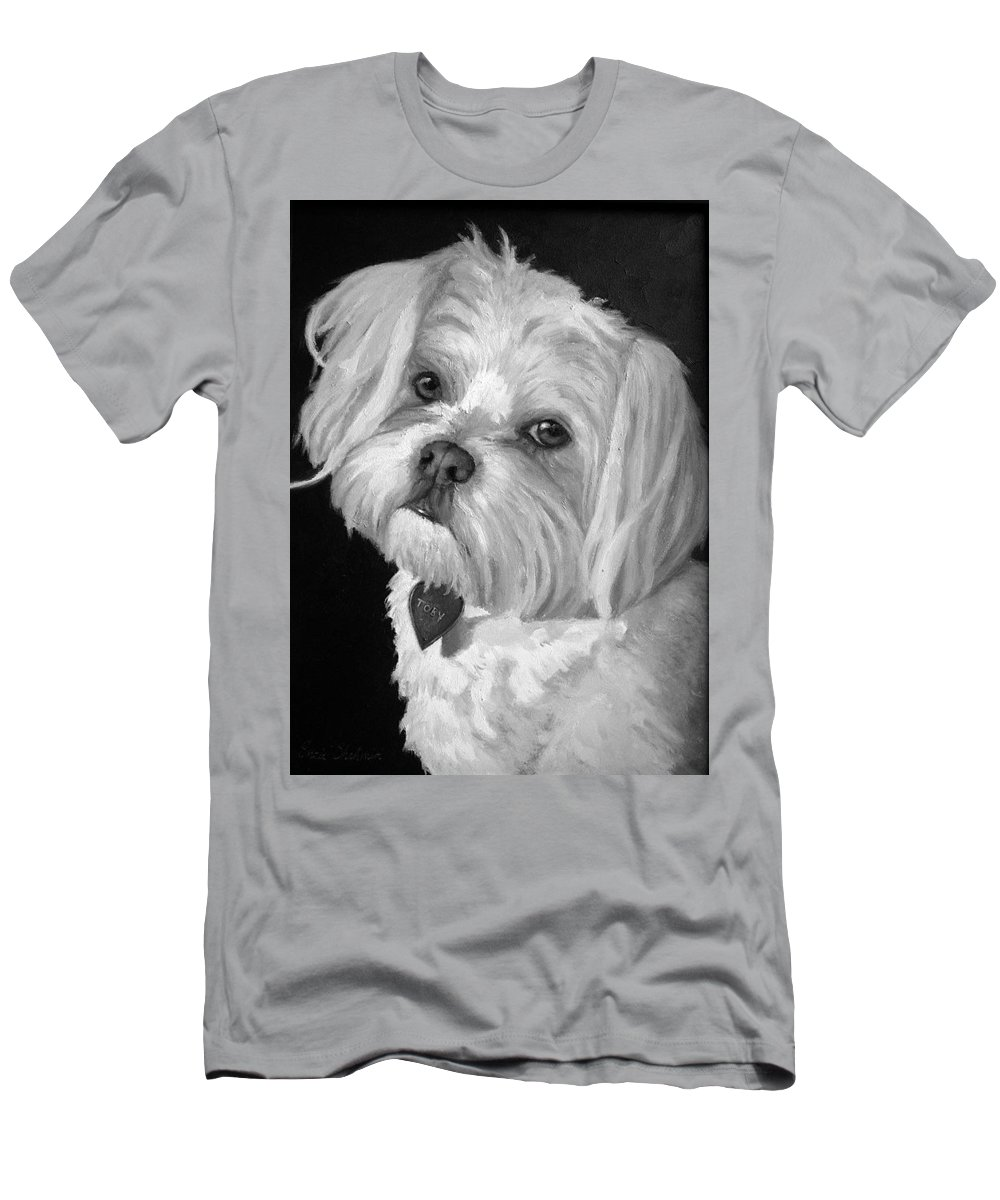 Dogs Men's T-Shirt (Athletic Fit) featuring the painting Toby by Portraits By NC