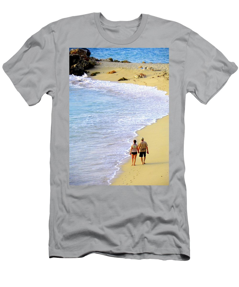 Couples In Love Men's T-Shirt (Athletic Fit) featuring the photograph Together Alone by Karen Wiles