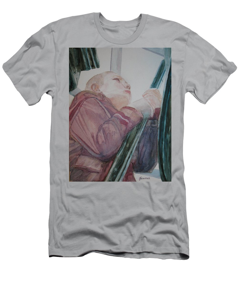 Boy Men's T-Shirt (Athletic Fit) featuring the painting Top Of The Lighthouse Stairs by Jenny Armitage