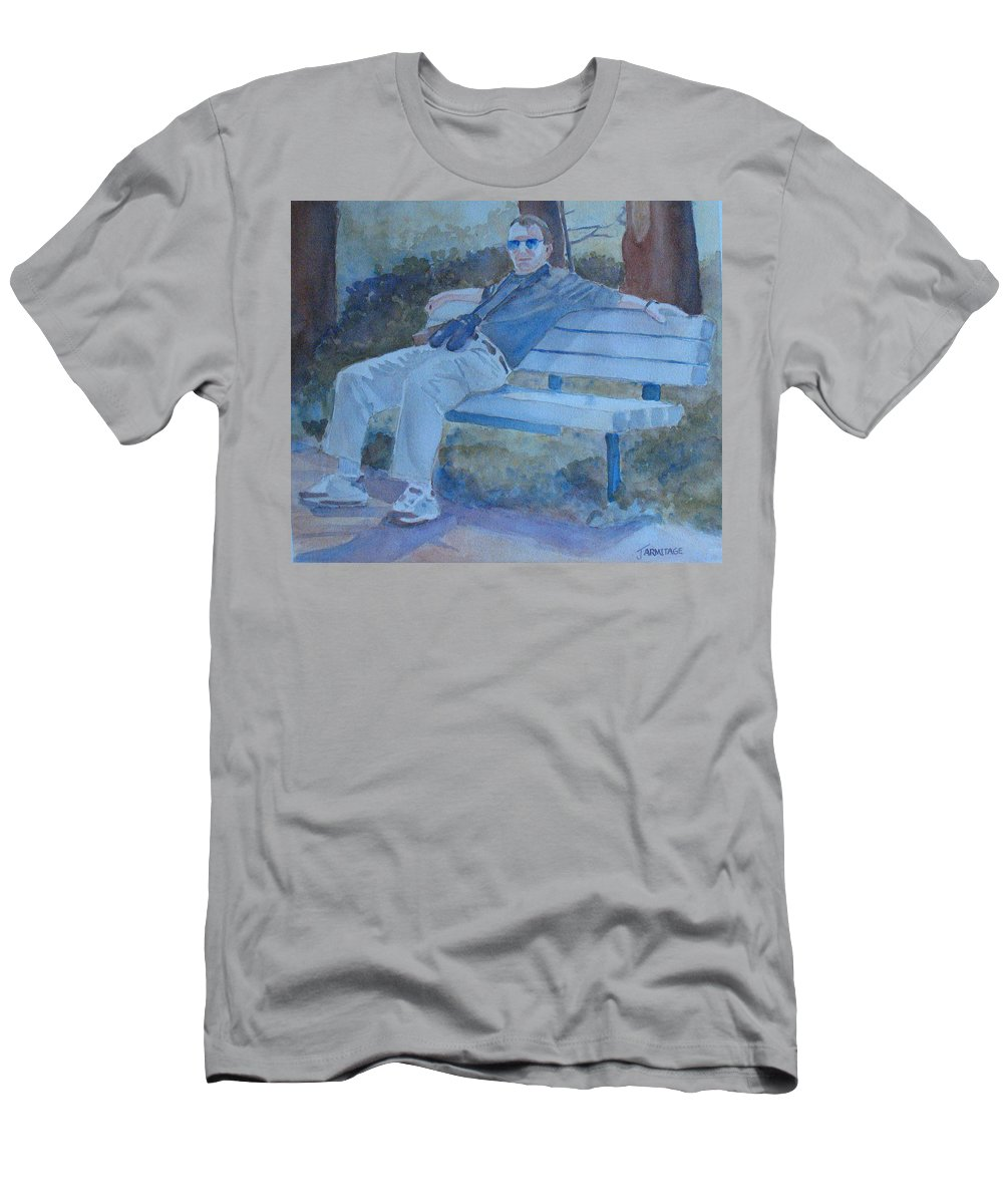 Tourists Men's T-Shirt (Athletic Fit) featuring the painting Tourist At Rest by Jenny Armitage