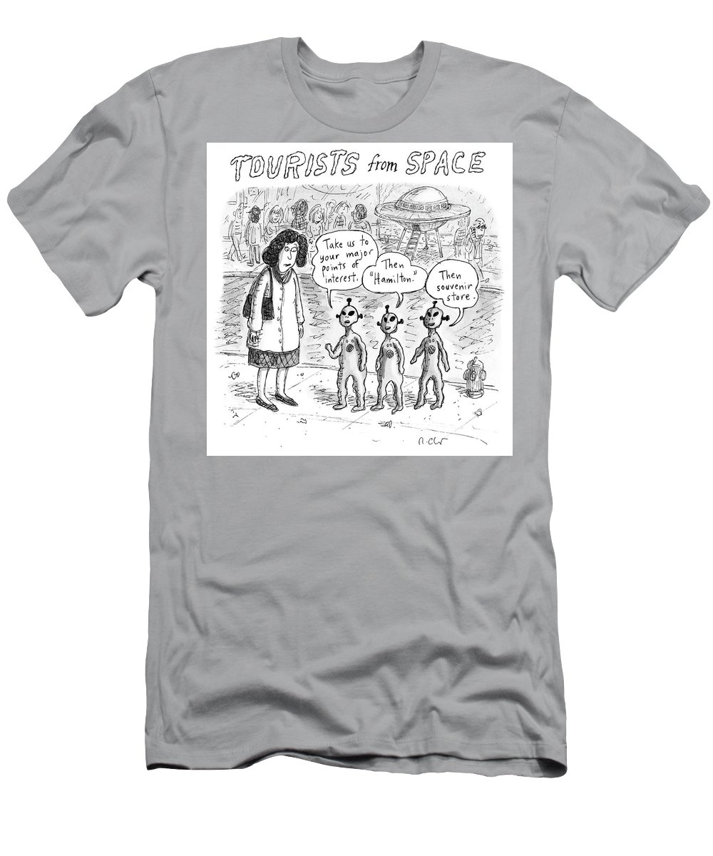Tourists From Space Men's T-Shirt (Athletic Fit) featuring the drawing Tourists From Space by Roz Chast