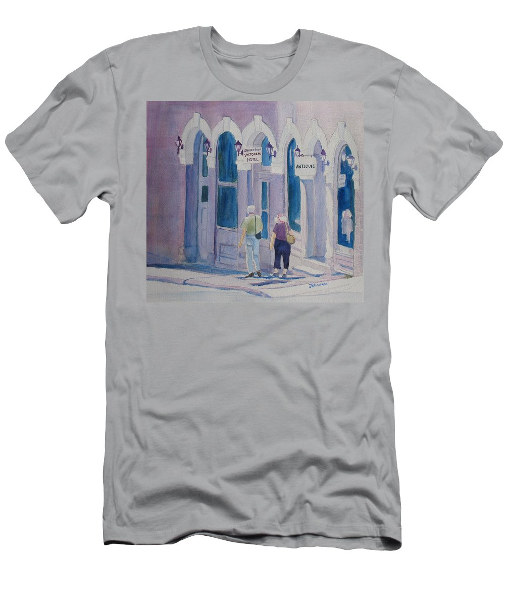 Central City Men's T-Shirt (Athletic Fit) featuring the painting Tourists In Central City by Jenny Armitage