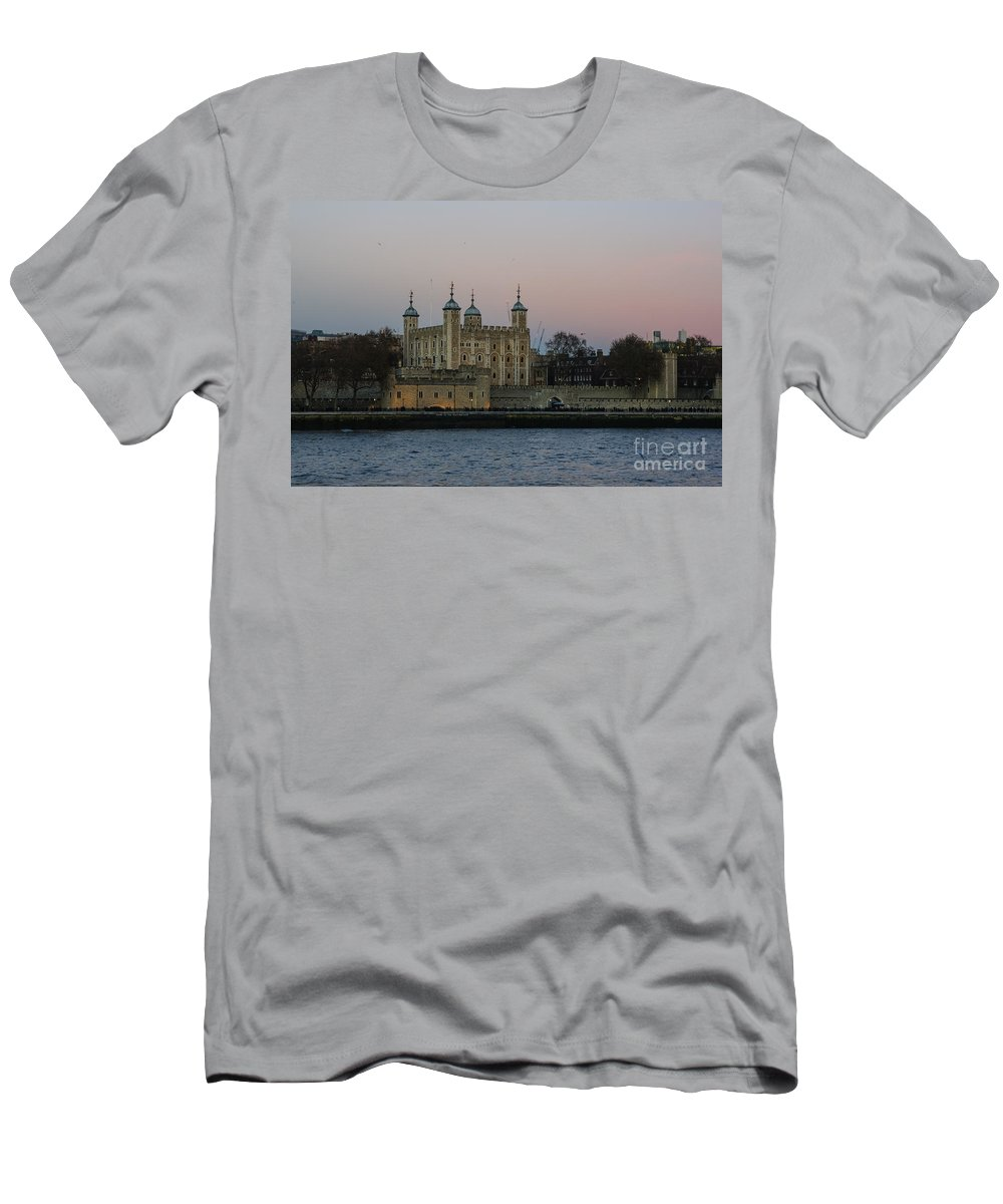 Britain British England English Uk Europe European View Panoramic Cityscape Skyline Travel Traveling Tourism Riverbank Riverside Scenery Scene Architecture Buildings Old Icon Iconic Famous Popular Capital City Urban Landmark Landmarks Attraction Sightseeing Sunset Dusk Twilight Night Sky River Tower Of London Castle Medieval Building Thames Men's T-Shirt (Athletic Fit) featuring the photograph Tower Of London by Marcin Rogozinski