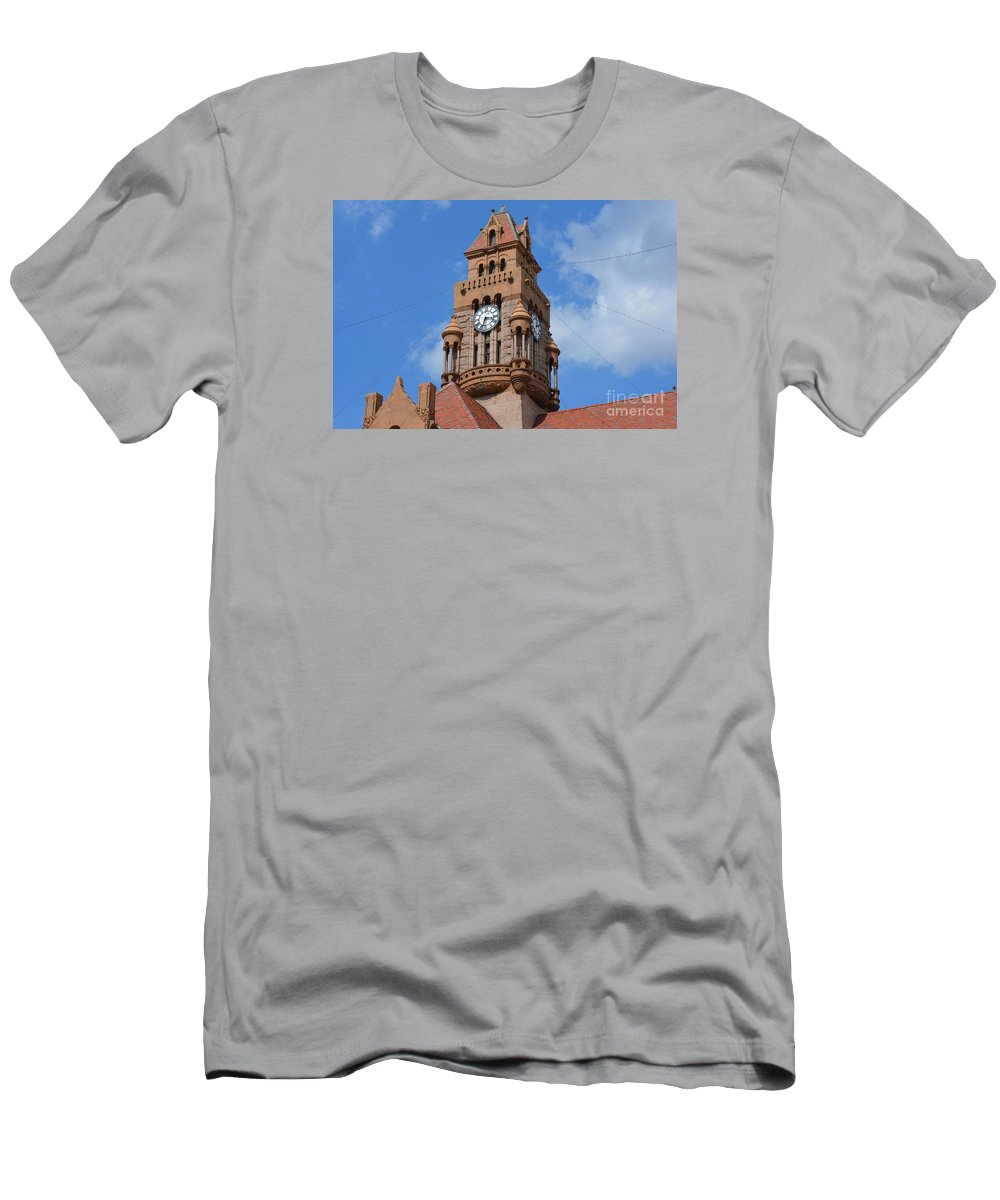 Tower Of The Decatur Courthouse Prints Men's T-Shirt (Athletic Fit) featuring the photograph Tower Of The Decatur Courthouse by Ruth Housley