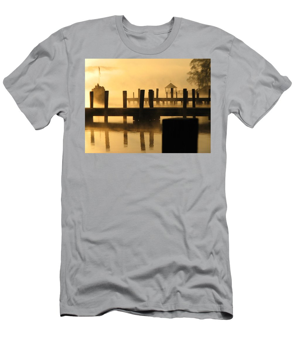 Photography Meredith Nh Photographs Men's T-Shirt (Athletic Fit) featuring the photograph Town Docks by Michael Mooney