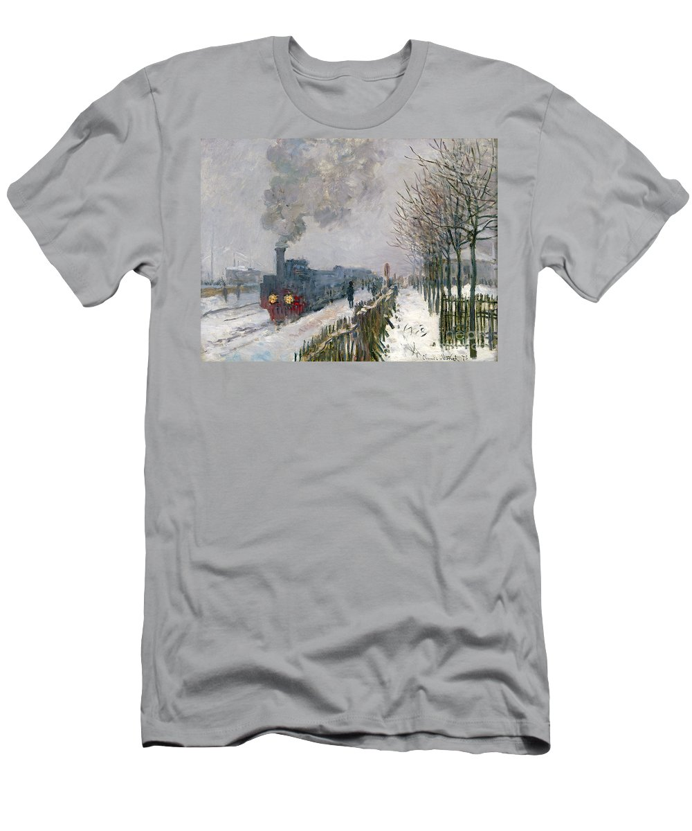 Train Men's T-Shirt (Athletic Fit) featuring the painting Train In The Snow Or The Locomotive by Claude Monet