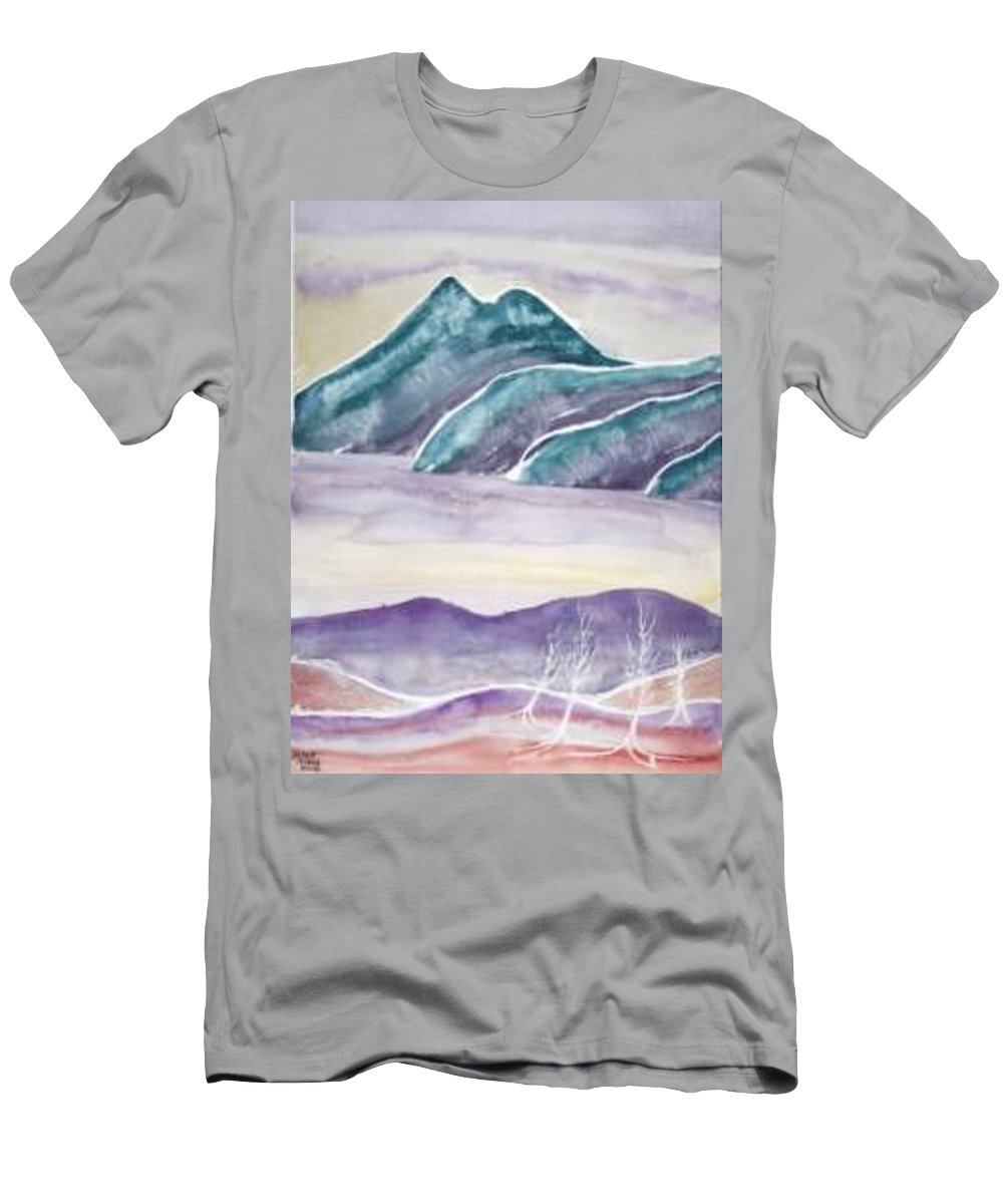 Watercolor Men's T-Shirt (Athletic Fit) featuring the painting Tranquility Landscape Mountain Surreal Modern Fine Art Print by Derek Mccrea