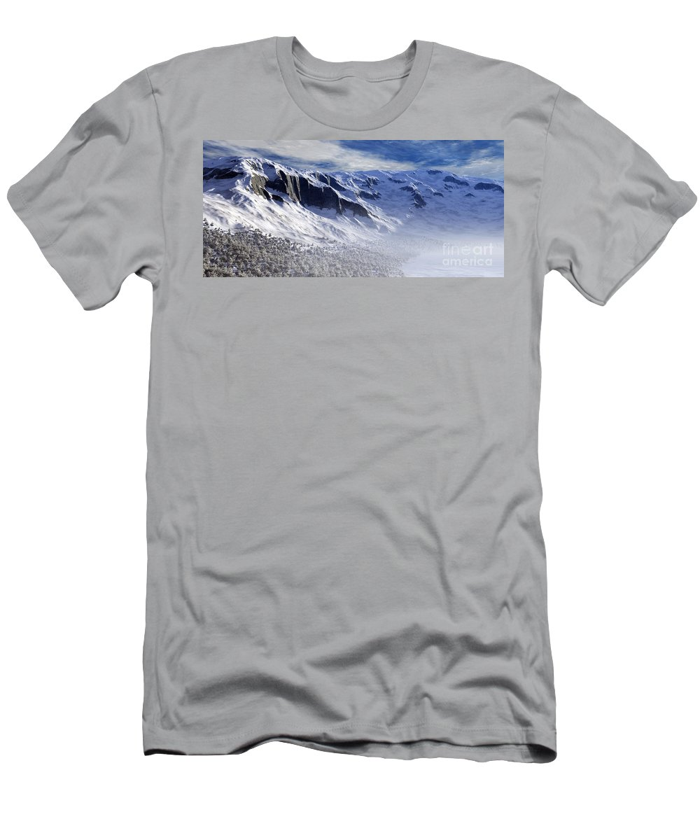 Mountains Men's T-Shirt (Athletic Fit) featuring the digital art Tranquility by Richard Rizzo