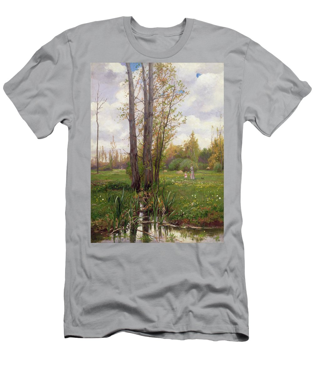 Tree Men's T-Shirt (Athletic Fit) featuring the painting Tree Beside Water by Ernest Le Villain