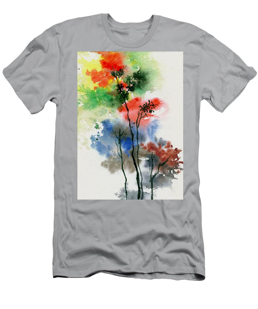 Trees Men's T-Shirt (Athletic Fit) featuring the painting Trees In Colors by Anil Nene