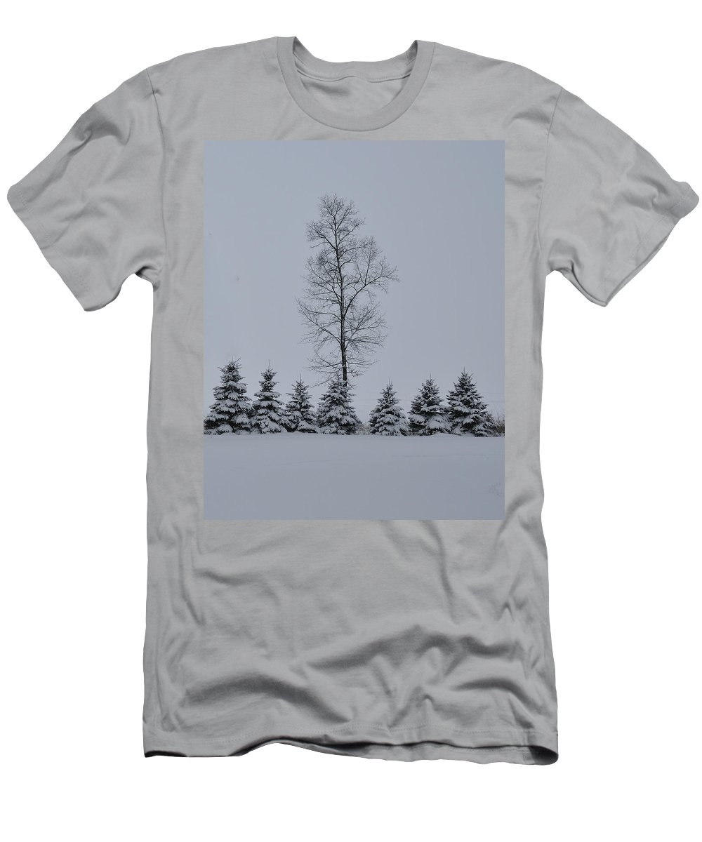 Trees Men's T-Shirt (Athletic Fit) featuring the photograph Trees In The Snow by David Arment