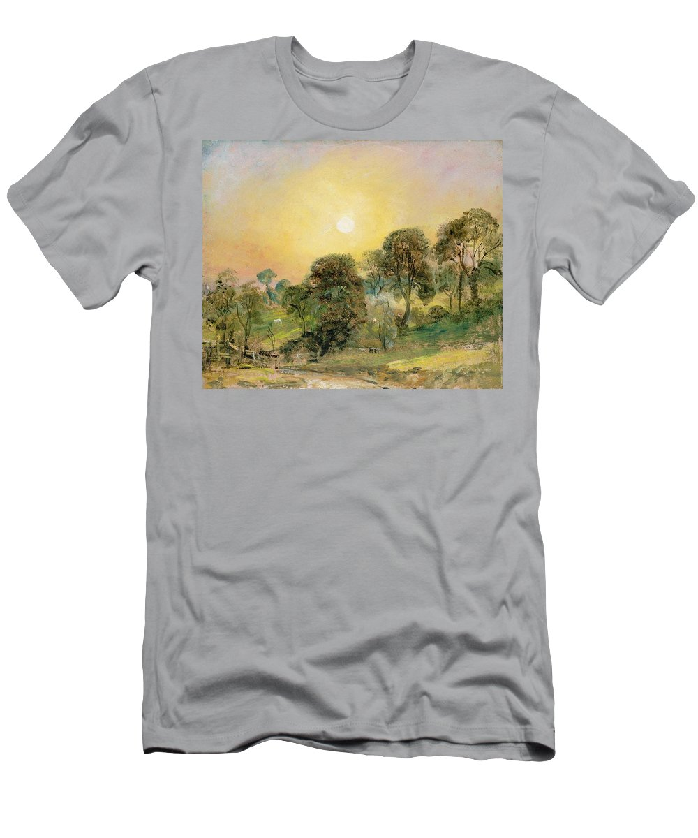 Trees Men's T-Shirt (Athletic Fit) featuring the painting Trees On Hampstead Heath At Sunset by John Constable