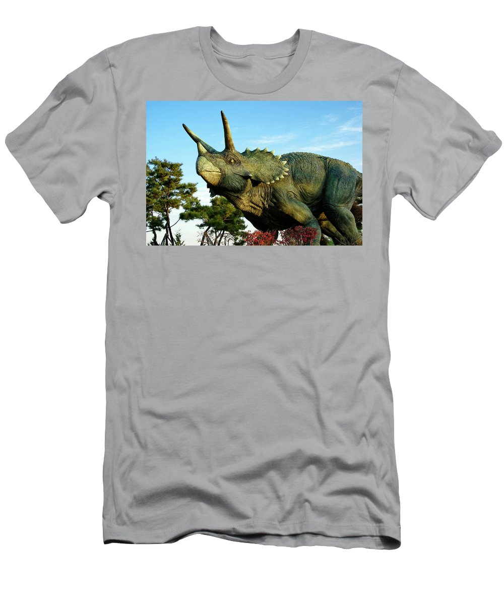 South Korea Men's T-Shirt (Athletic Fit) featuring the photograph Triceratops by Michele Burgess