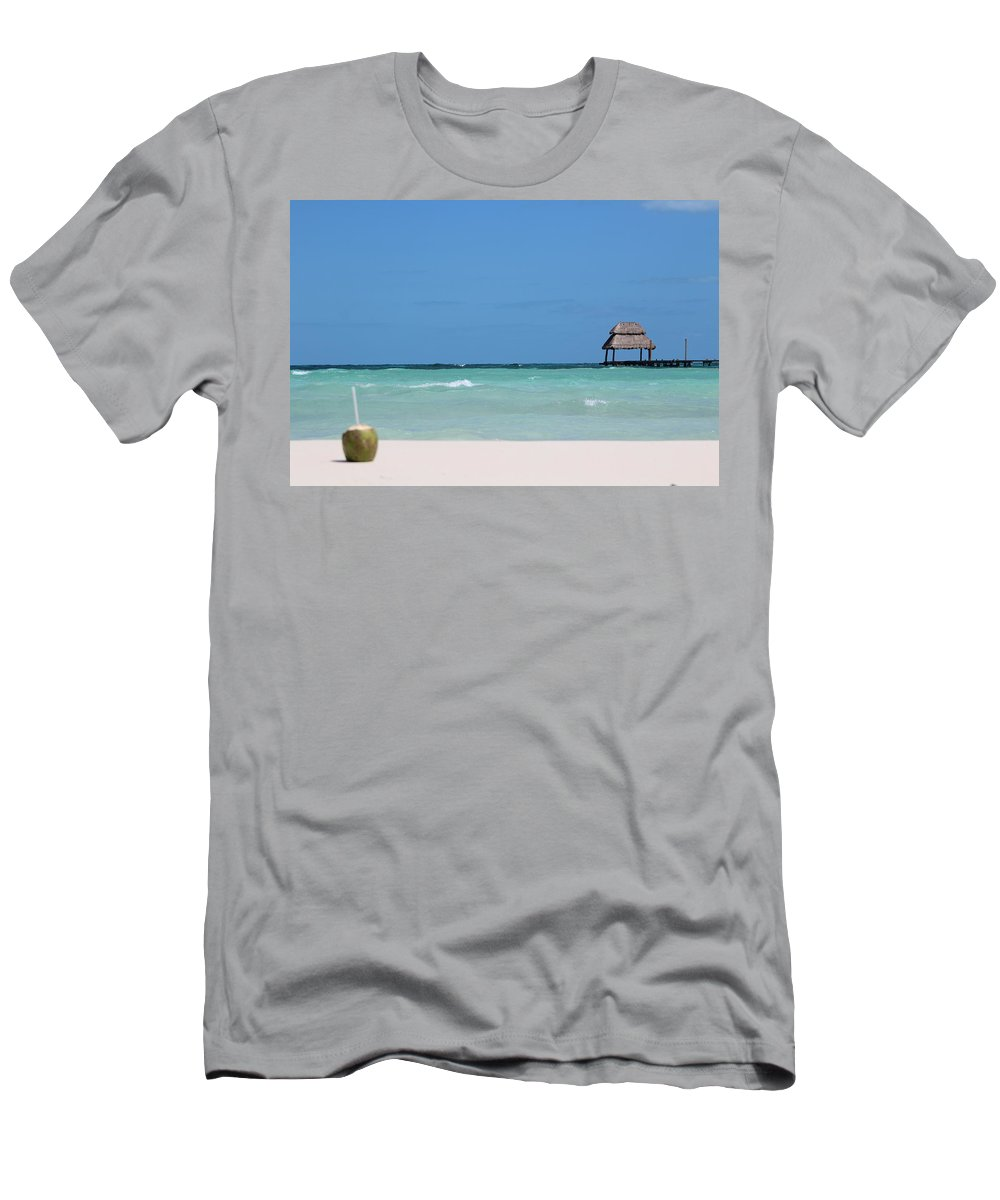 Landscape Men's T-Shirt (Athletic Fit) featuring the photograph Tropical Coconut Drink On The Beach by Toni Fontana