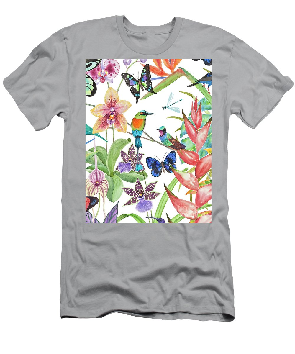 Tropical Birds T-Shirt featuring the painting Tropical Paradise Dragonfly by Lucy Arnold
